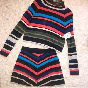Free People Skirts - NWT- Free People Such a Flirt Skirt Sweater Set